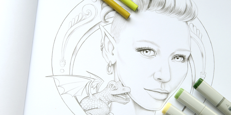 Dragontamer Nella Coloring Book Page