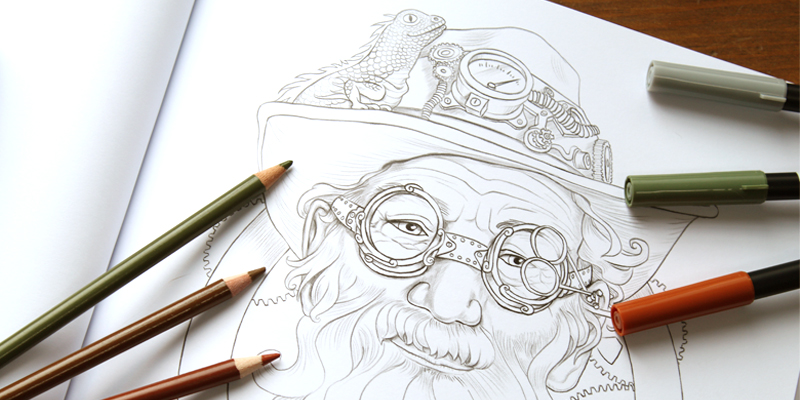 The Professor Steampunk Old Man Portrait
