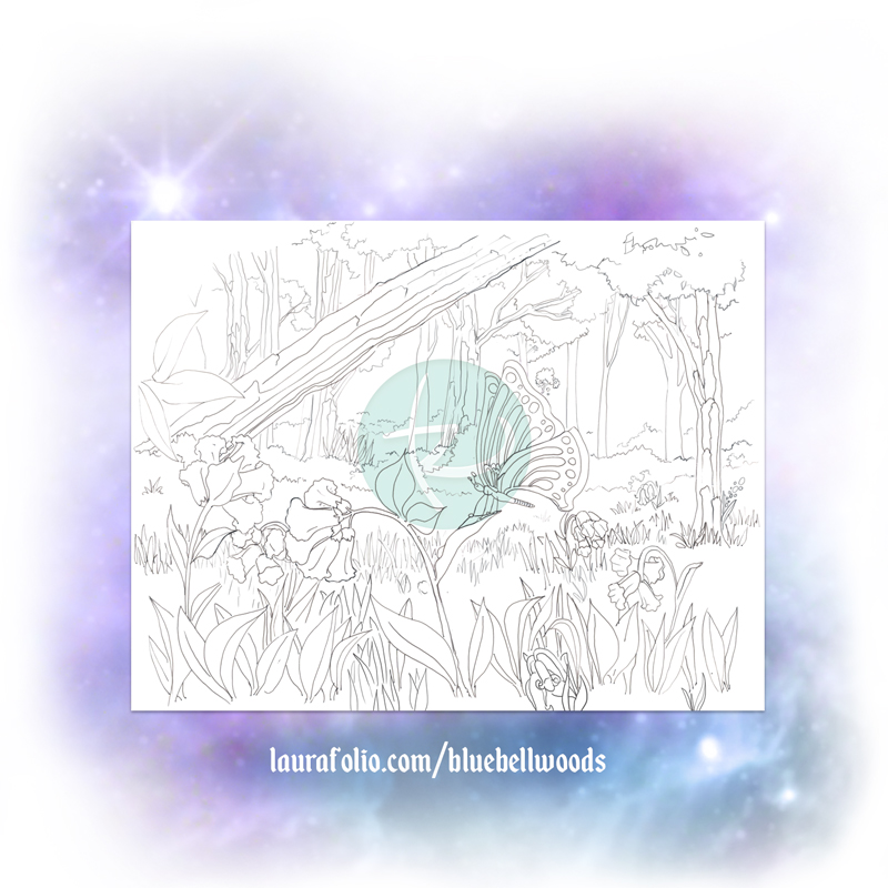 Bluebell Woods On the Surface Coloring Book Page