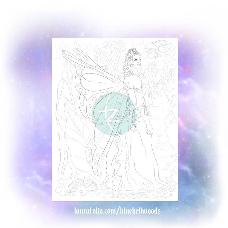 Michelle the Fairy - Bluebell Woods Coloring Book Page