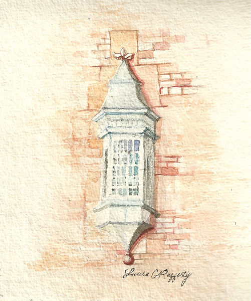 Watercolor painting of an architectural detail of a window and some bricks