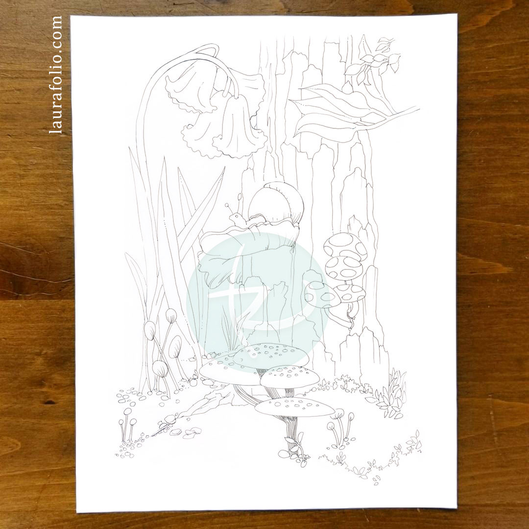 Bluebell Woods Coloring Book - Snail and Mushies