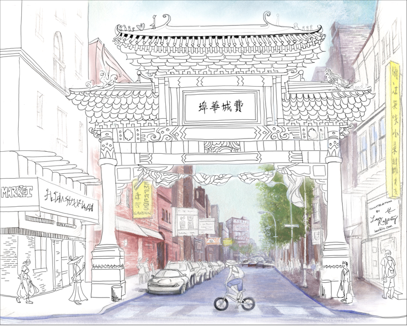 Chinatown Freebie Coloring Page Halfway colored by artist Laura Rafferty