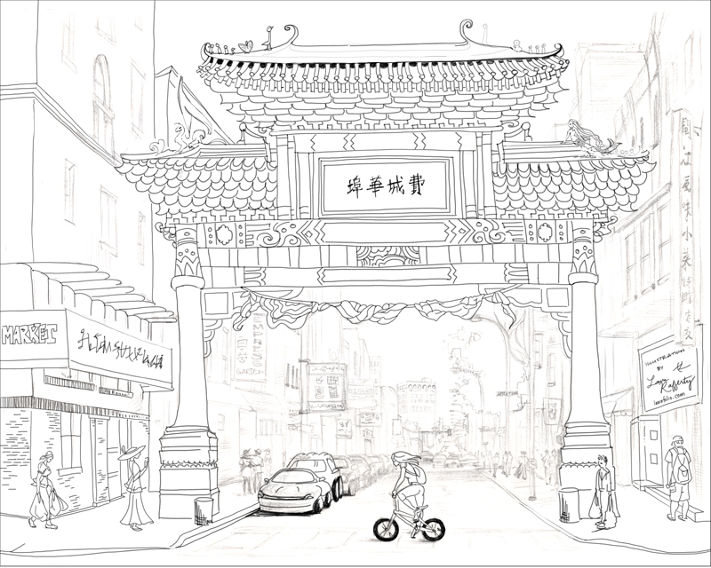 Chinatown Freebie Coloring Page Preview