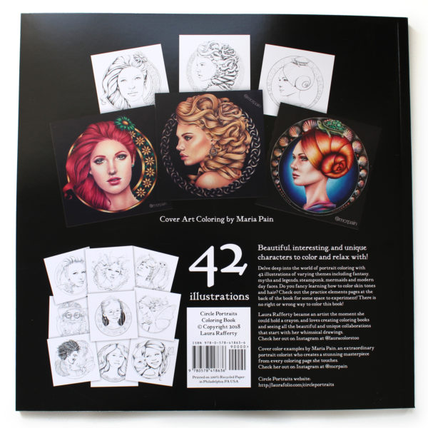 Circle Portraits Coloring Book back cover