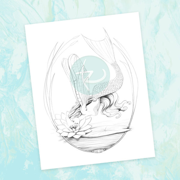 Dragofleurmaid Adult Coloring Page by Laura Grace Rafferty of lauracolorstoo