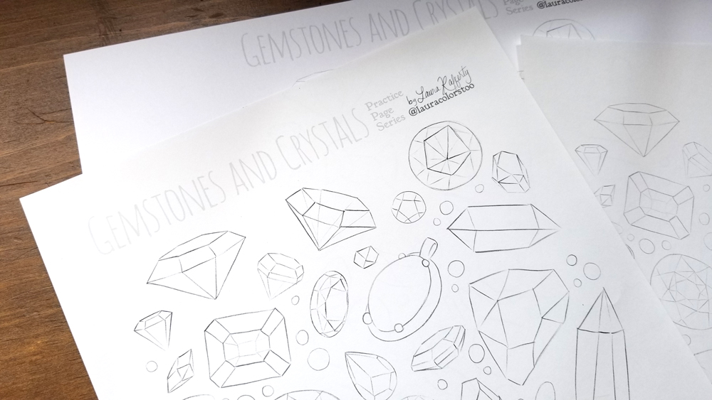 gemstones free coloring page