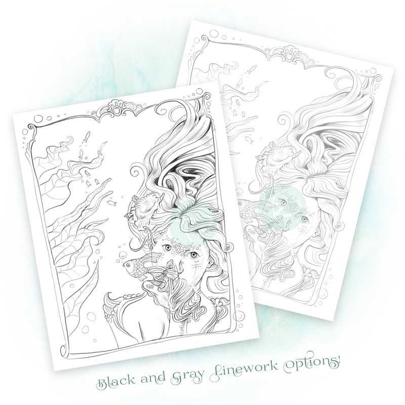 Petting the Fish Mermaid Adult Coloring Page