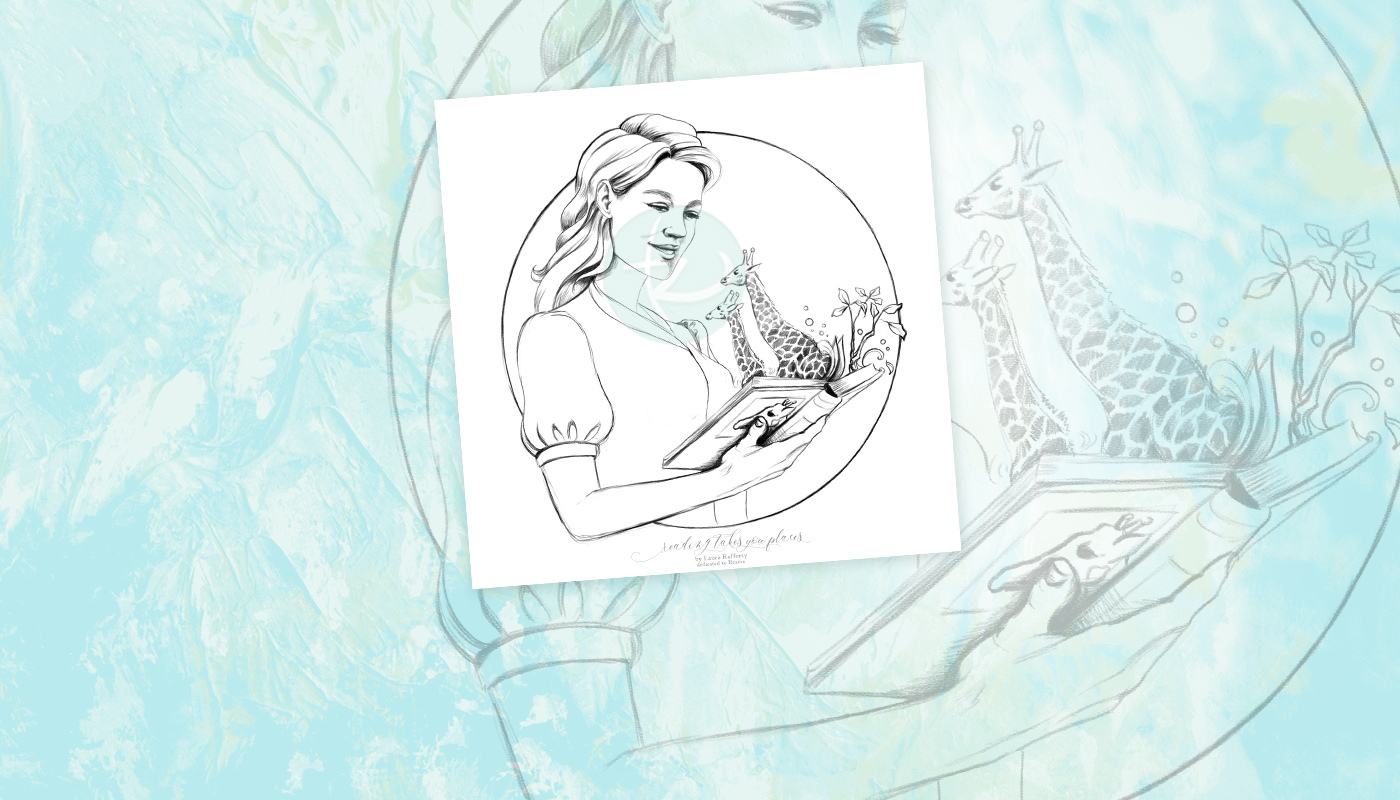 Reading Takes You Places Coloring Page Illustration by Laura Grace Rafferty Artist
