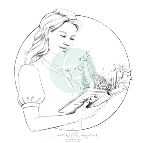 Reading Takes You Places Coloring Book Page Illustration
