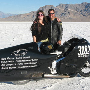 Laura Rafferty and Mark DeLuca on the Bonneville Salt Flats in 2010